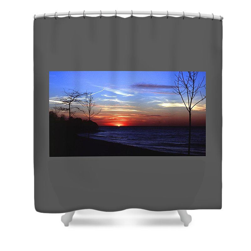 Sunset Shower Curtain featuring the photograph 112601-54 by Mike Davis