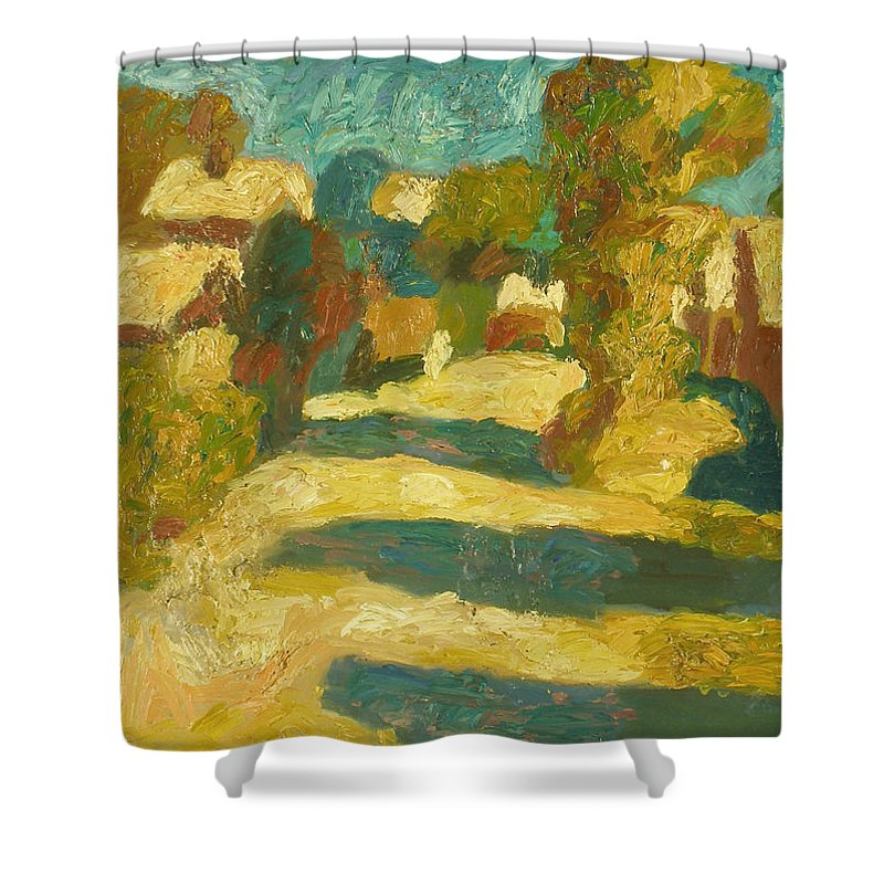 Street Shower Curtain featuring the painting Landscape by Robert Nizamov