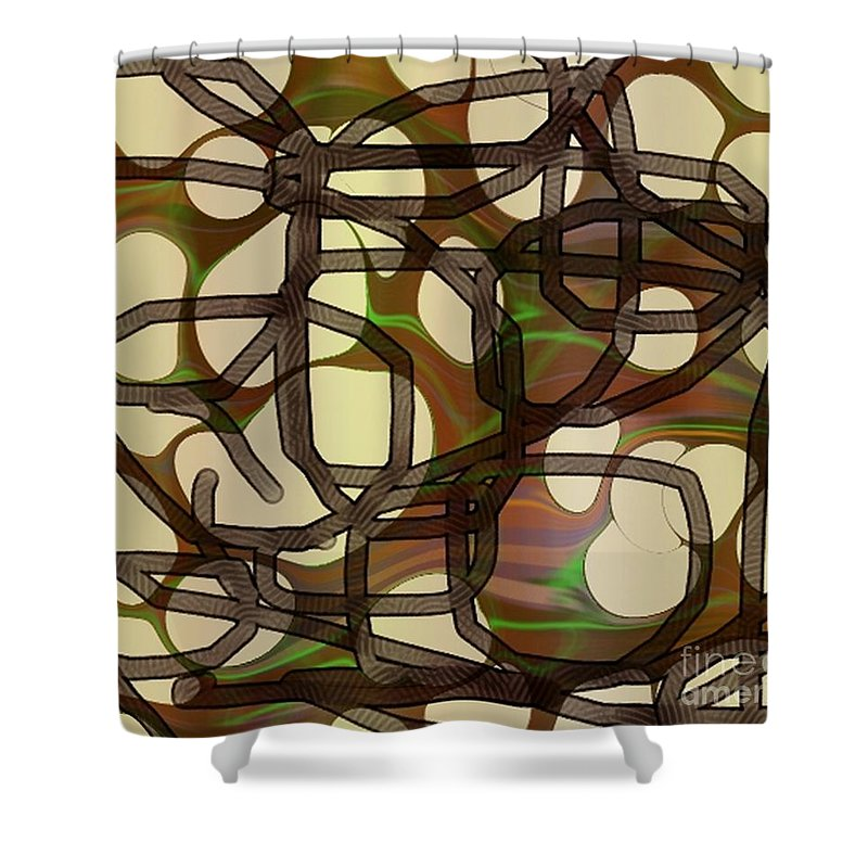 Abstract Art Shower Curtain featuring the digital art 1197exp3 by Ron Bissett