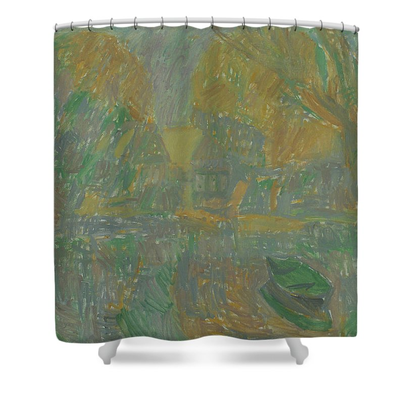 River Shower Curtain featuring the painting Boats by Robert Nizamov