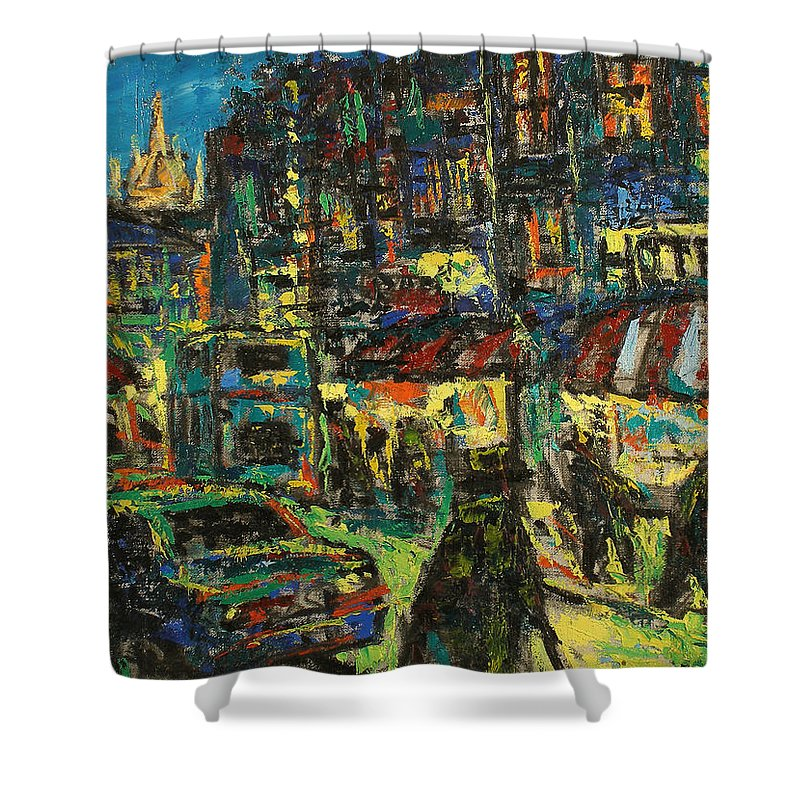 People Shower Curtain featuring the painting City by Robert Nizamov