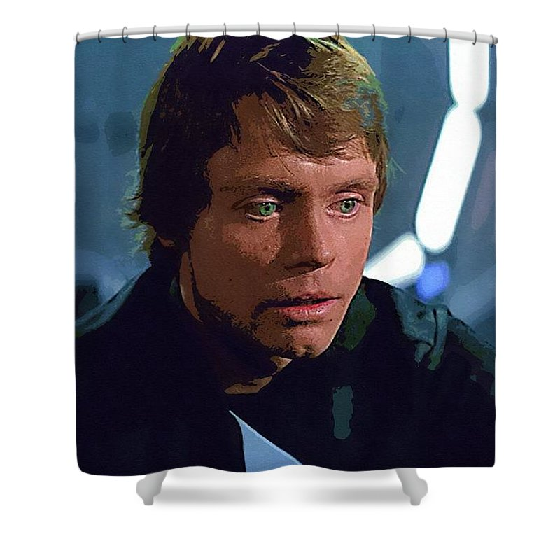 Star Wars Sith Shower Curtain featuring the digital art Star Wars The Poster by Larry Jones