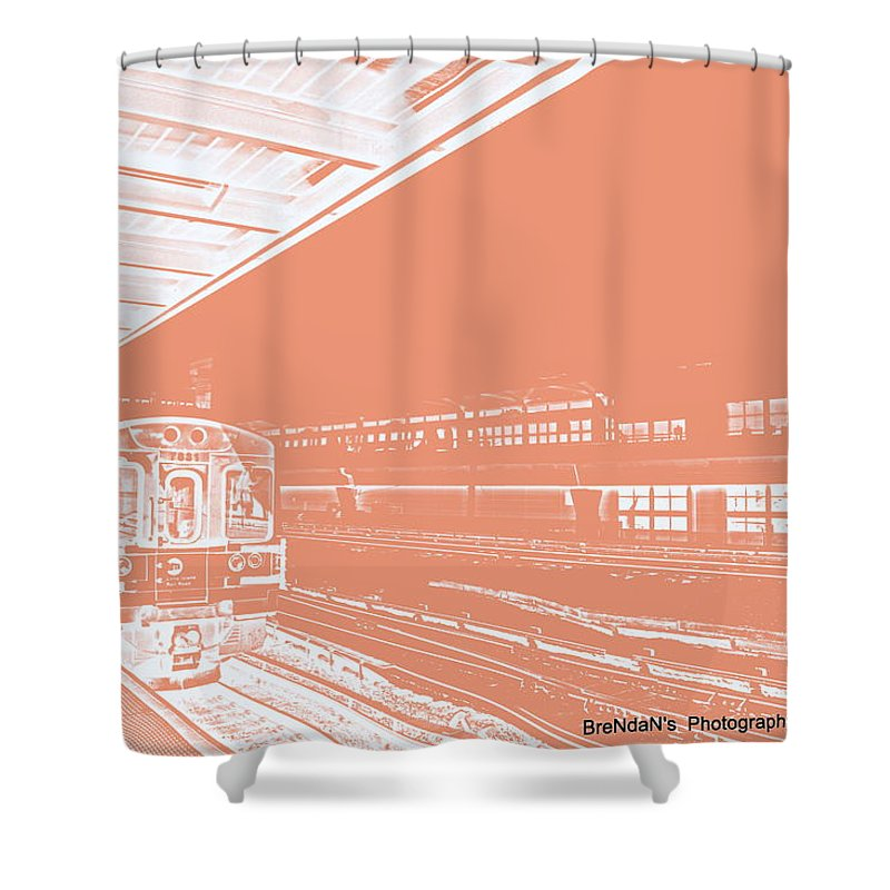 Beige Shower Curtain featuring the photograph Train Station Series by Rhona Lawrence