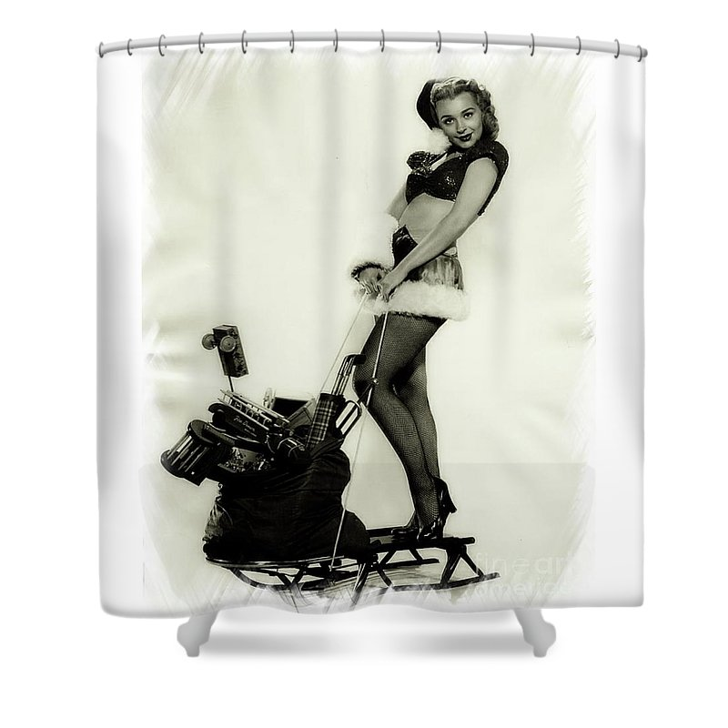 Vintage Shower Curtain Featuring The Photograph Hollywood Christmas Pinup By Frank Falcon