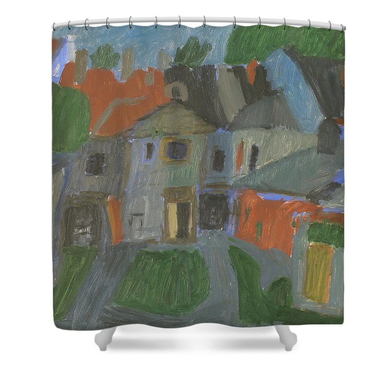 Street Shower Curtain featuring the painting Old House by Robert Nizamov