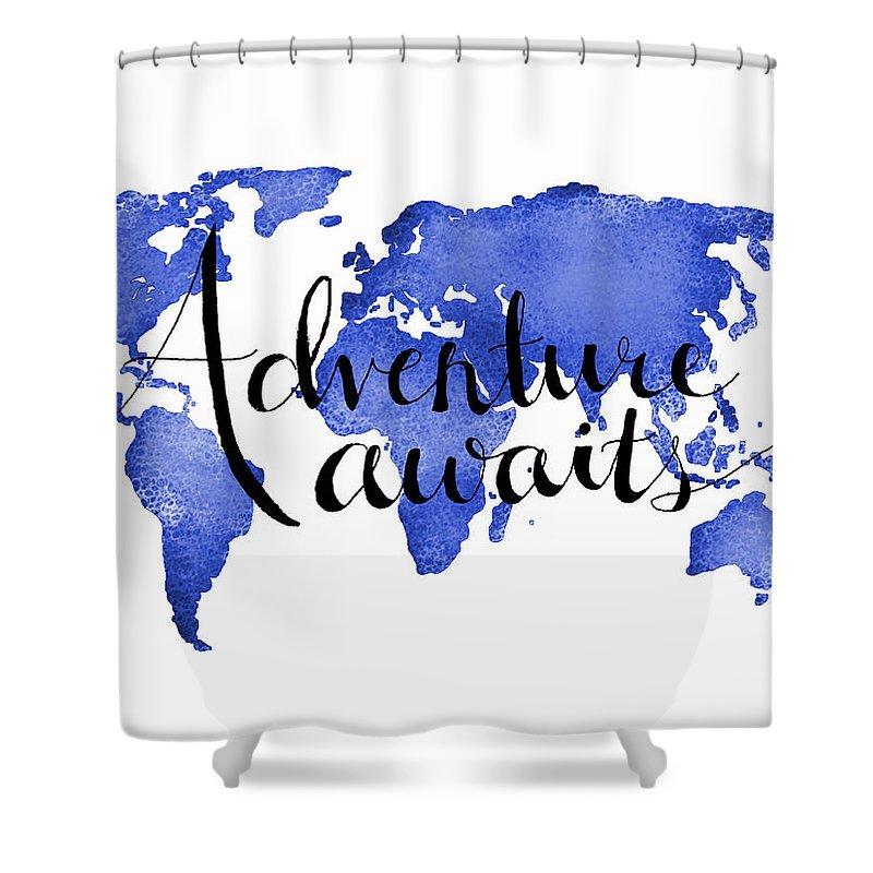 Adventure Awaits Shower Curtain featuring the digital art 12x16 Adventure Awaits Blue Map Art by Michelle Eshleman