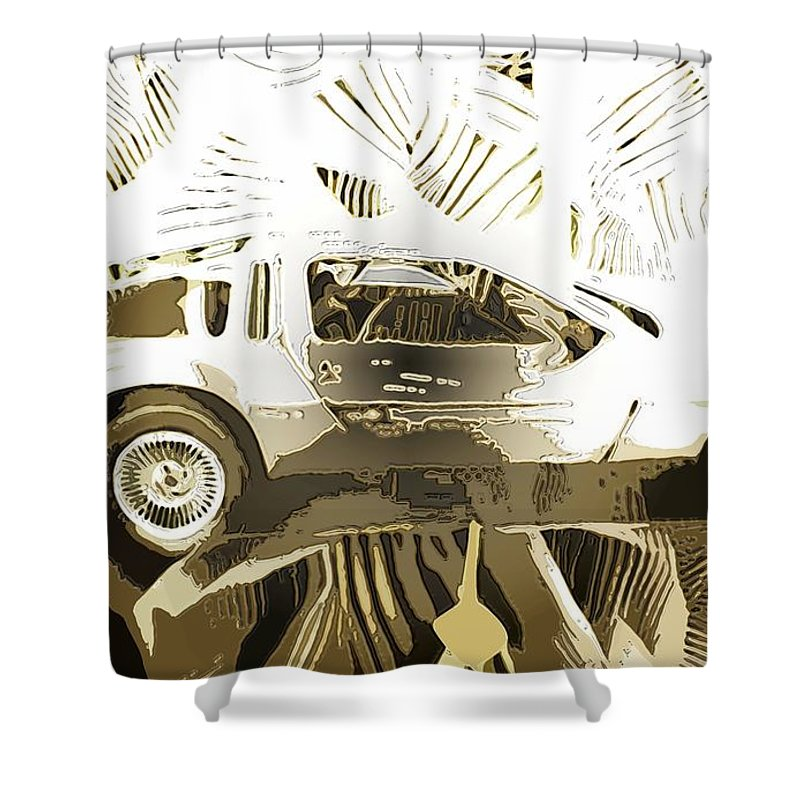 Shower Curtain featuring the digital art Cards by John P Earls
