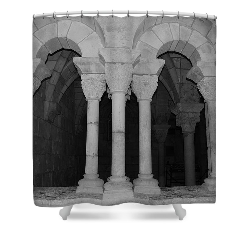 Black And White Shower Curtain featuring the photograph Miami Monastery by Rob Hans