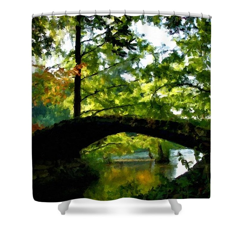 Landscape Shower Curtain featuring the digital art Nature Scene by Usa Map