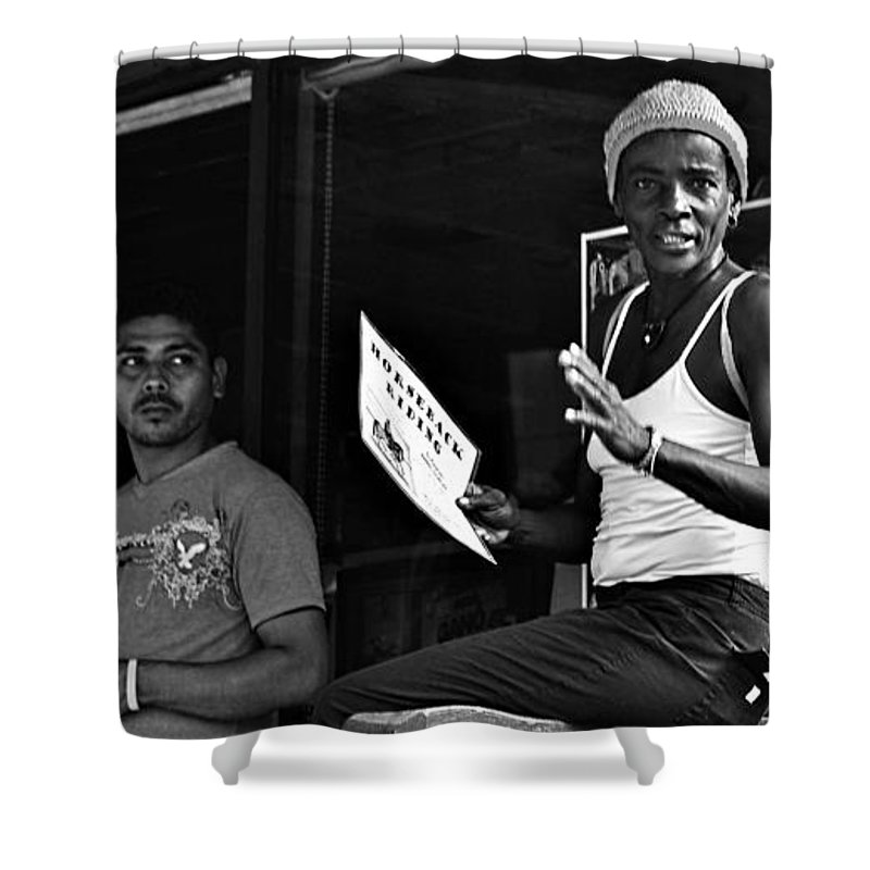 Portrait Shower Curtain featuring the photograph Roatan Life by Gianni Bussu