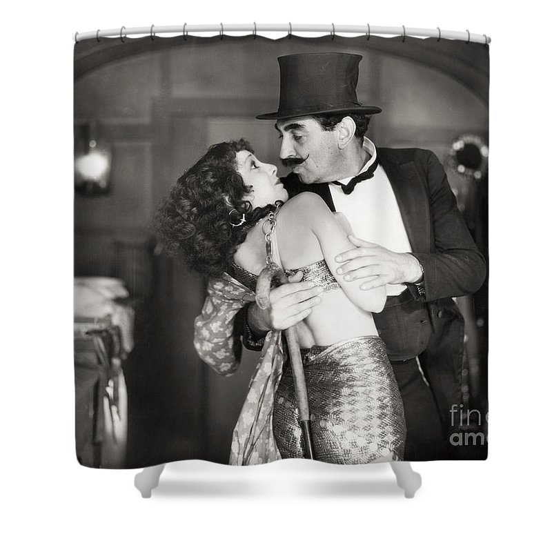 1920s Shower Curtain featuring the photograph Silent Still: Man & Woman by Granger