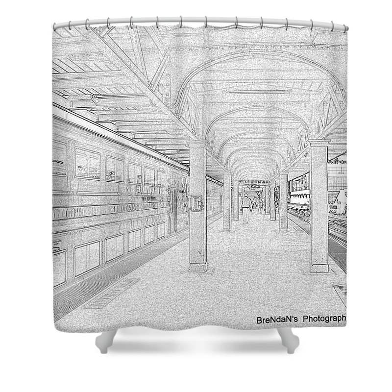 Penciled Shower Curtain featuring the photograph Train Station Series by Rhona Lawrence