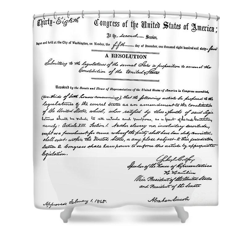 13th Amendment Shower Curtain featuring the photograph 13th Amendment, 1865 by Granger