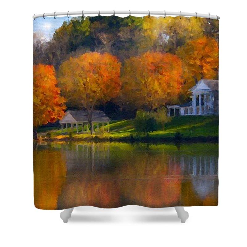Work Shower Curtain featuring the digital art Framed Landscape Art by Usa Map