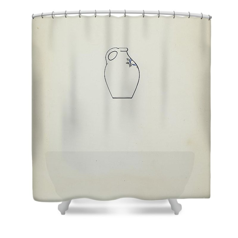 Shower Curtain featuring the drawing Jug by Yolande Delasser
