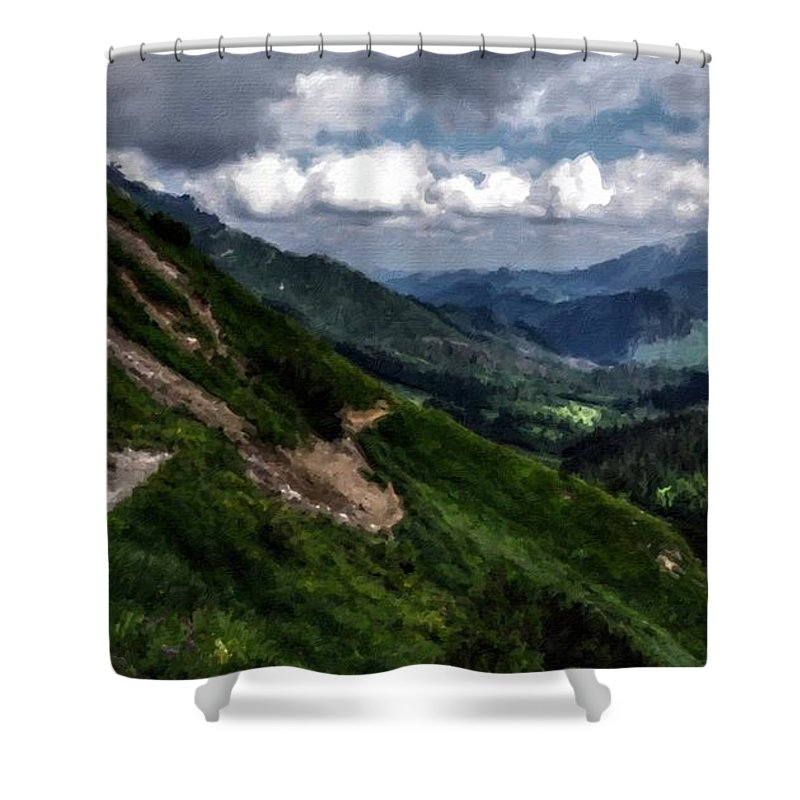 Landscape Shower Curtain featuring the digital art Landscape Poster by Usa Map