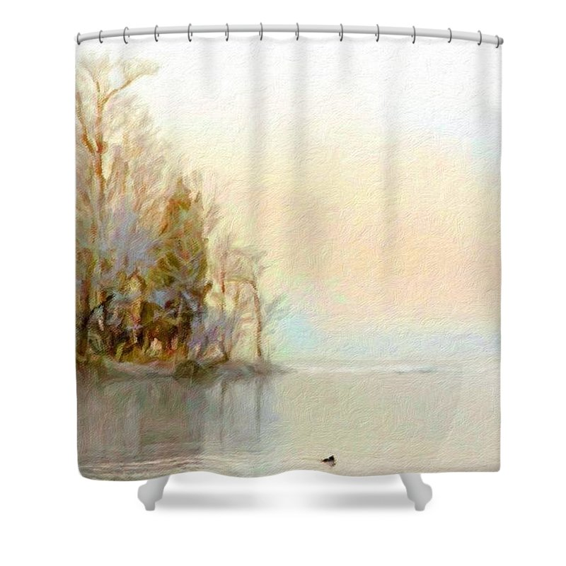 Landscaped Shower Curtain featuring the digital art Landscapes Paintings by Usa Map