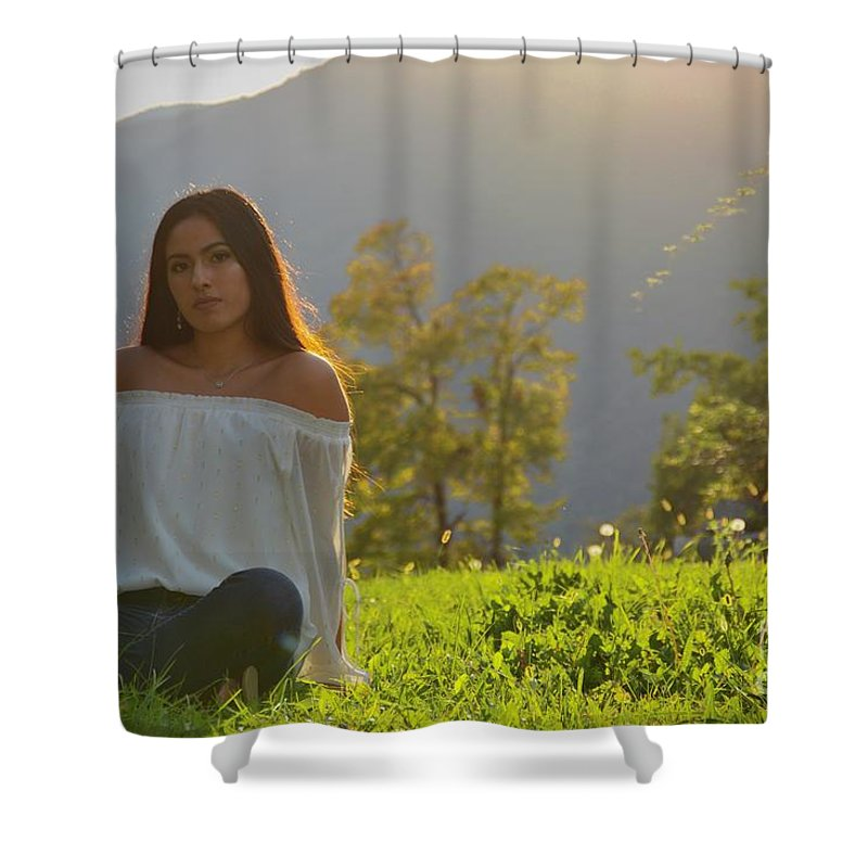 Liz Shower Curtain featuring the photograph Golden Hour Senior by Photos By Zulma
