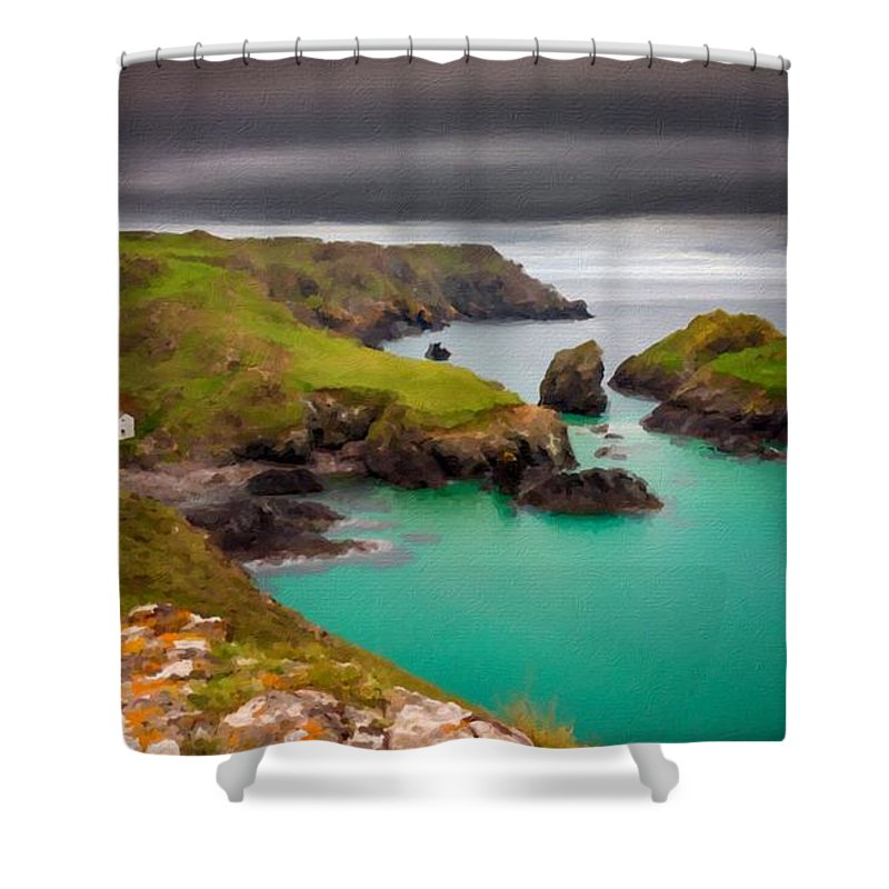 Landscape Shower Curtain featuring the digital art Landscape Painting Acrylic by Usa Map