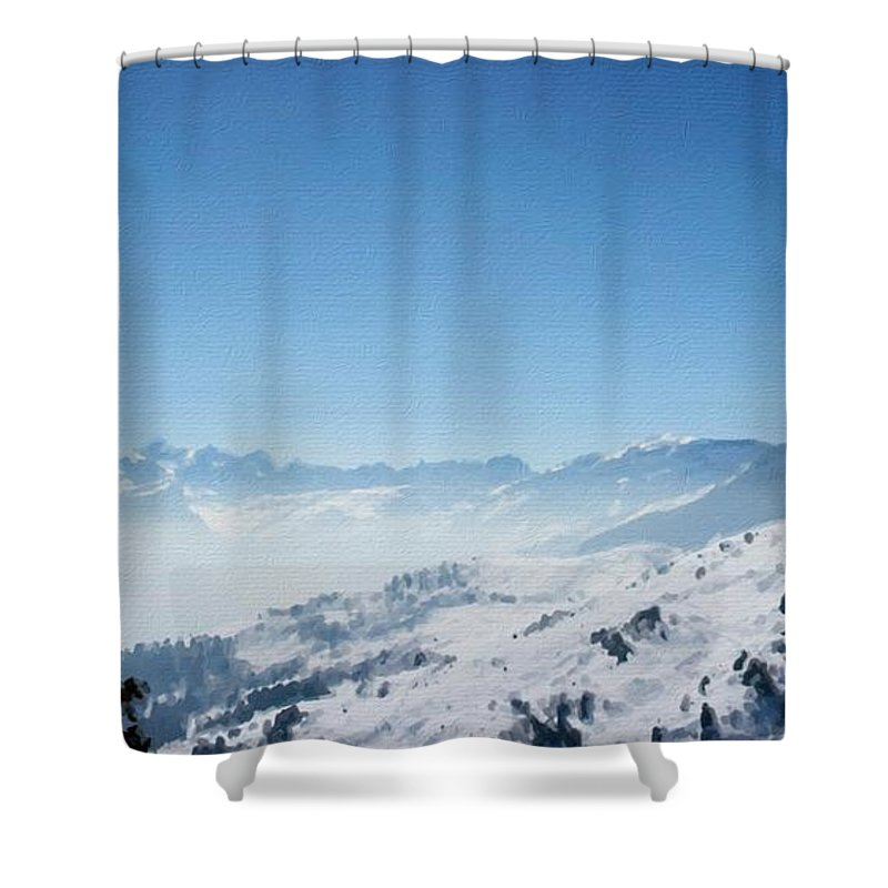 Landscape Shower Curtain featuring the digital art Landscape by Usa Map