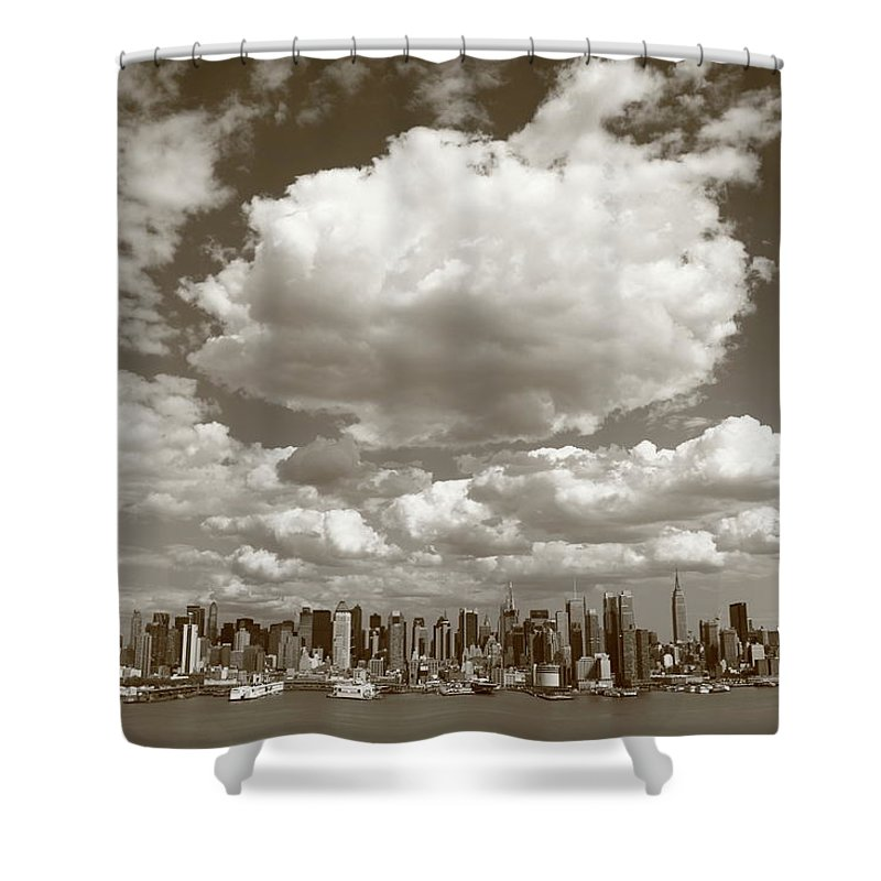 America Shower Curtain featuring the photograph New York City Skyline by Frank Romeo