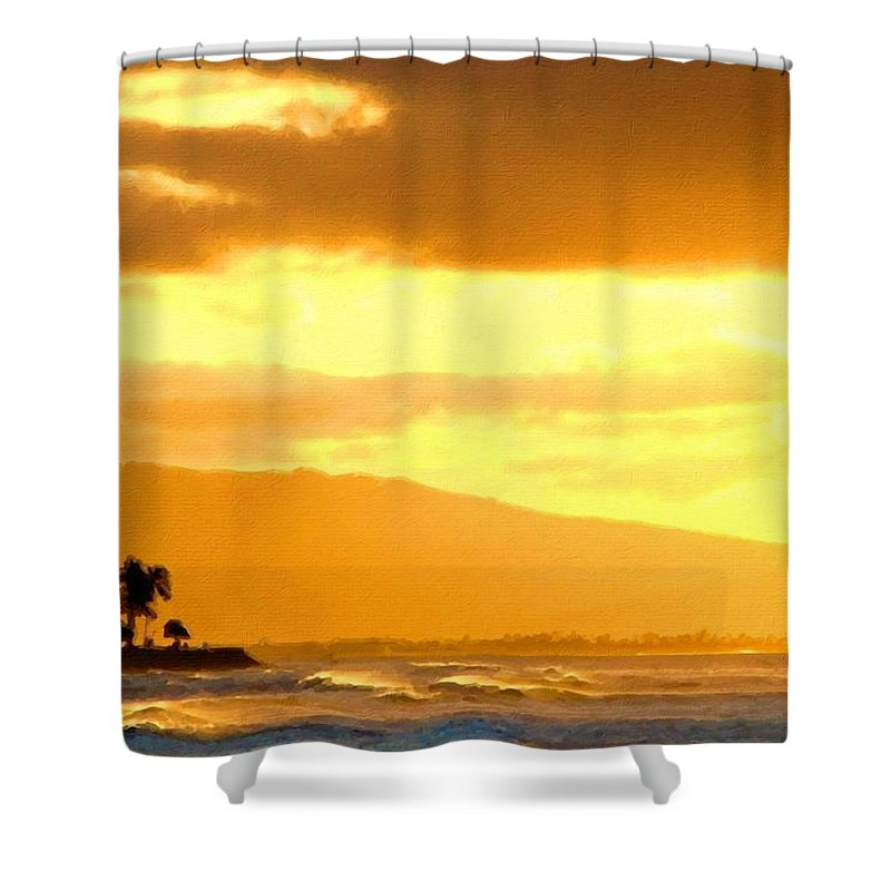 Natural Shower Curtain featuring the digital art Original Landscape Paintings by Usa Map