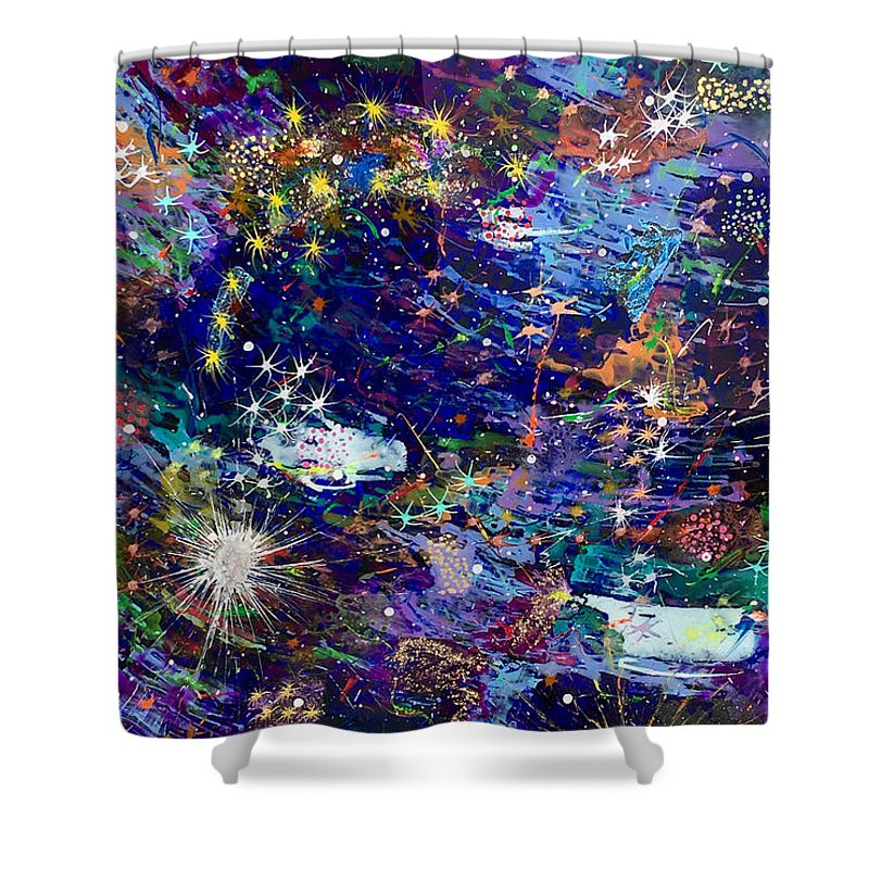 Acrylic Shower Curtain featuring the painting 16-1 Blue Space by Patrick OLeary