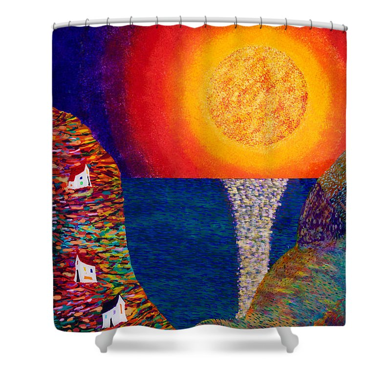Abstract Shower Curtain featuring the painting 16-7 Village Sun by Patrick OLeary