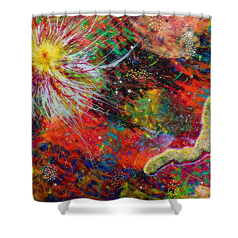 Abstract Shower Curtain featuring the painting 16-9 Red Star Burst by Patrick OLeary
