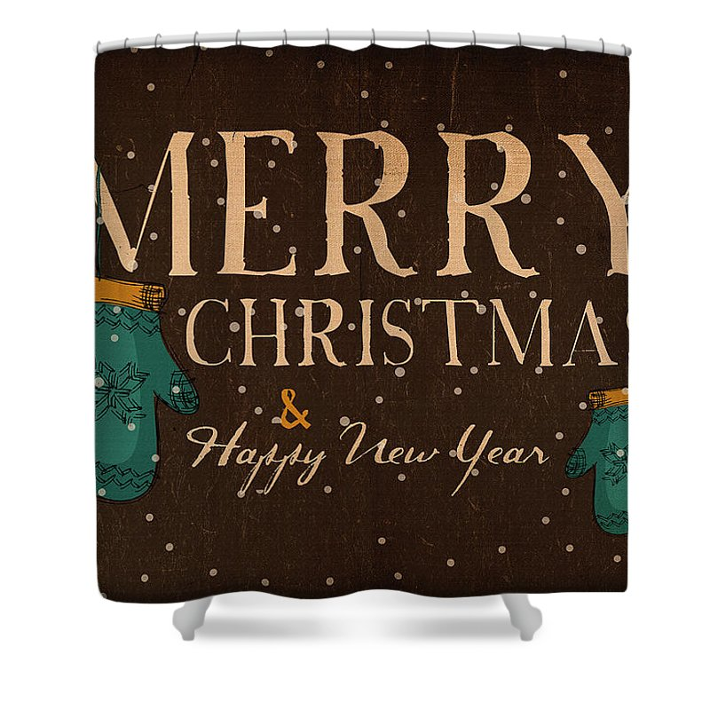 Decoration; Ornate; Abstract; Design; Illustration; Art; Creative; Decor; Vector; Grunge; Vintage; Watercolor Painting; Print; Poster; Christmas; Holiday; Snow; Traval Shower Curtain featuring the digital art Christmas Greetings by Don Kuing