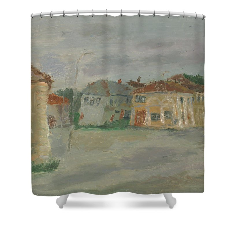 Street Shower Curtain featuring the painting Rostov by Robert Nizamov