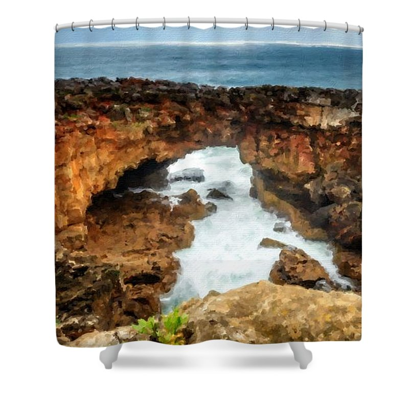 J Shower Curtain featuring the digital art M N Landscape by Usa Map