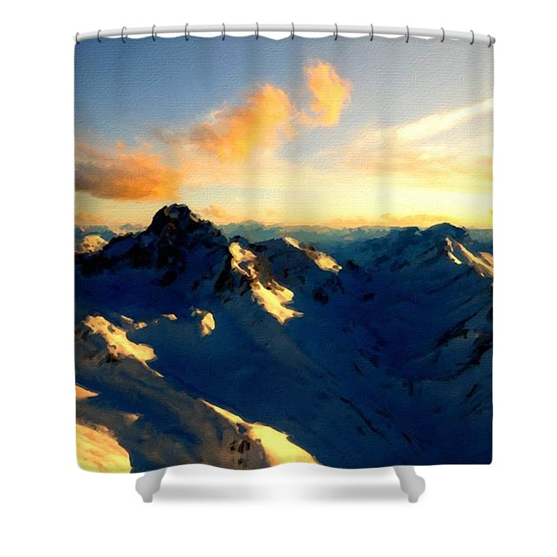 Landscape Shower Curtain featuring the digital art S Landscape by Usa Map