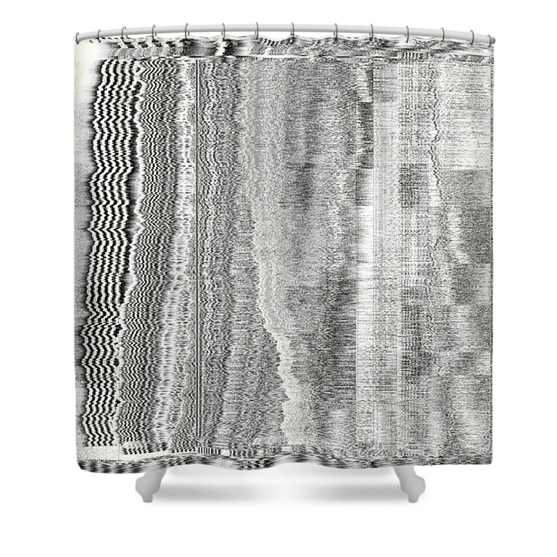 Rithmart Abstract Fade Fading Lines Organic Random Computer Digital Shapes Fading Layers Lines Reflected Shower Curtain featuring the digital art 16x9.164-#rithmart by Gareth Lewis