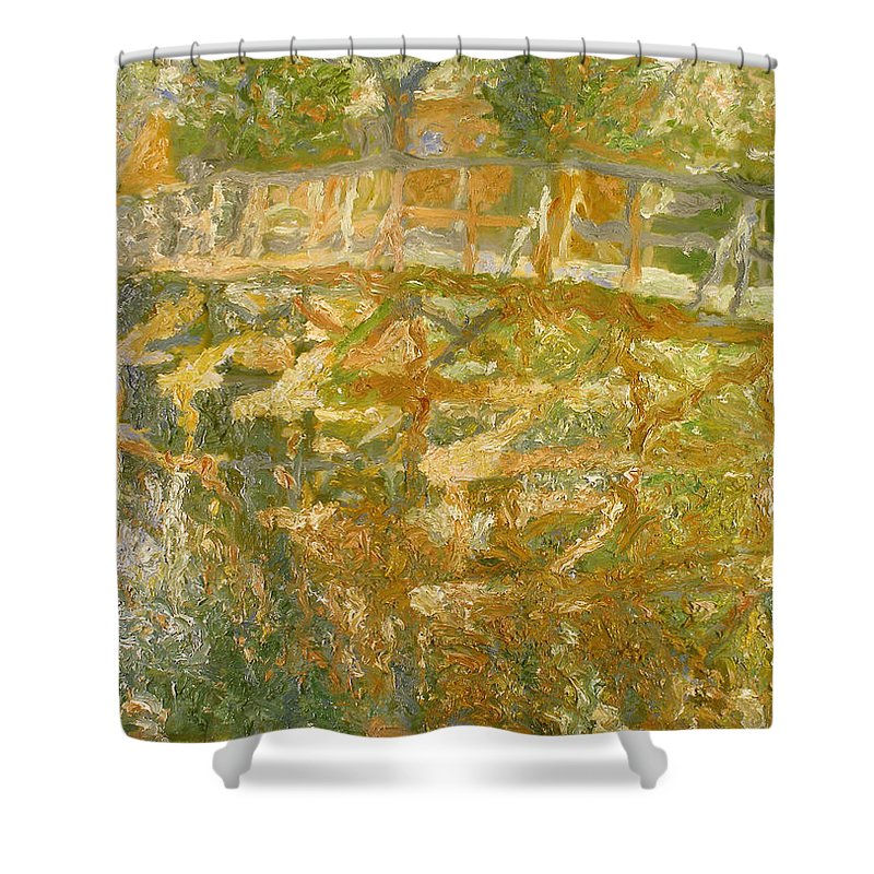 River Shower Curtain featuring the painting Bridge by Robert Nizamov