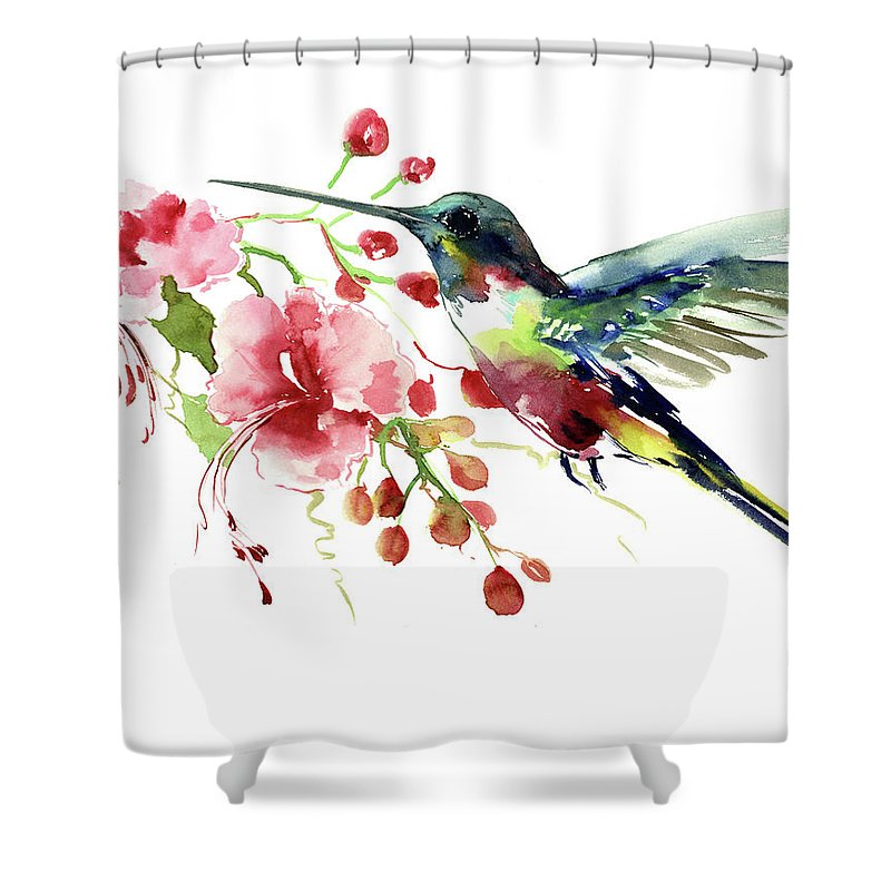 Hummingbird Shower Curtain Featuring The Painting Hummingbird By Suren  Nersisyan