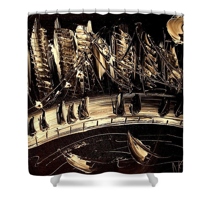 Impressionist Framed Prints Shower Curtain featuring the mixed media Jazz by Mark Kazav