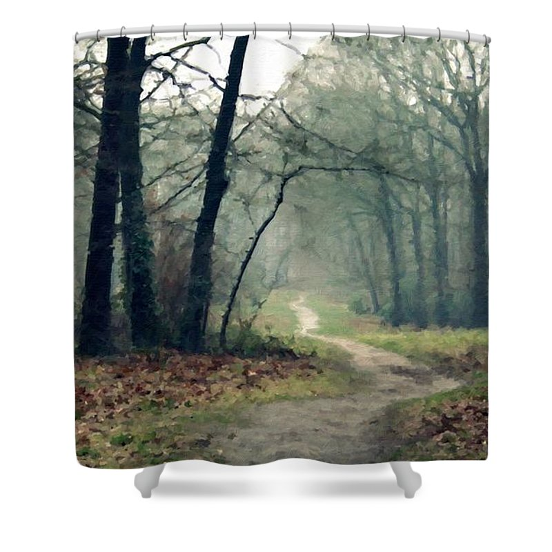 Landscape Shower Curtain featuring the digital art Landscape Oil Painting On Canvas by Usa Map