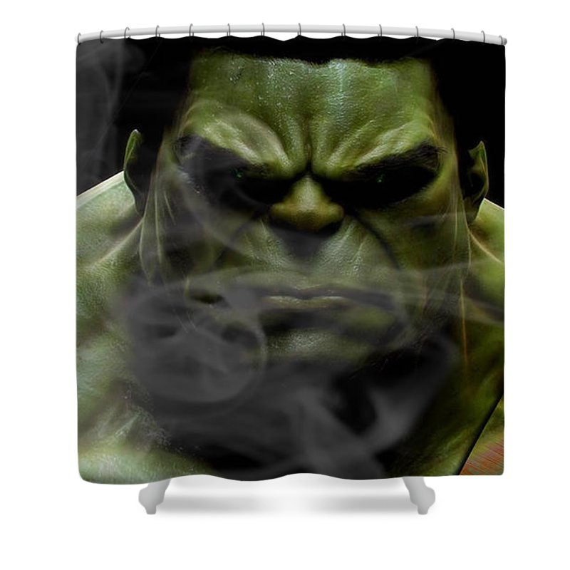 Avengers Shower Curtain Featuring The Mixed Media Incredible Hulk Collection By Marvin Blaine