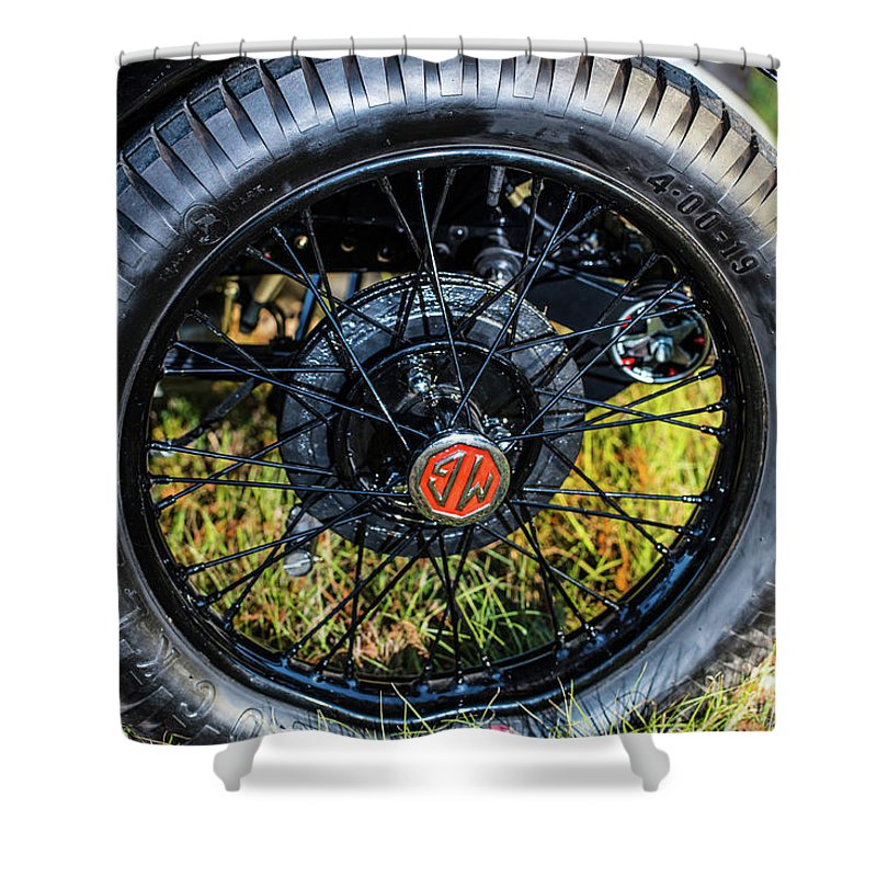 1930 Mg Shower Curtain featuring the photograph 1743.051 1930 Mg Wheel by M K Miller