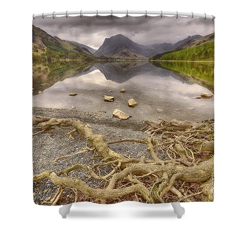 Buttermere Shower Curtain featuring the photograph Buttermere by Smart Aviation