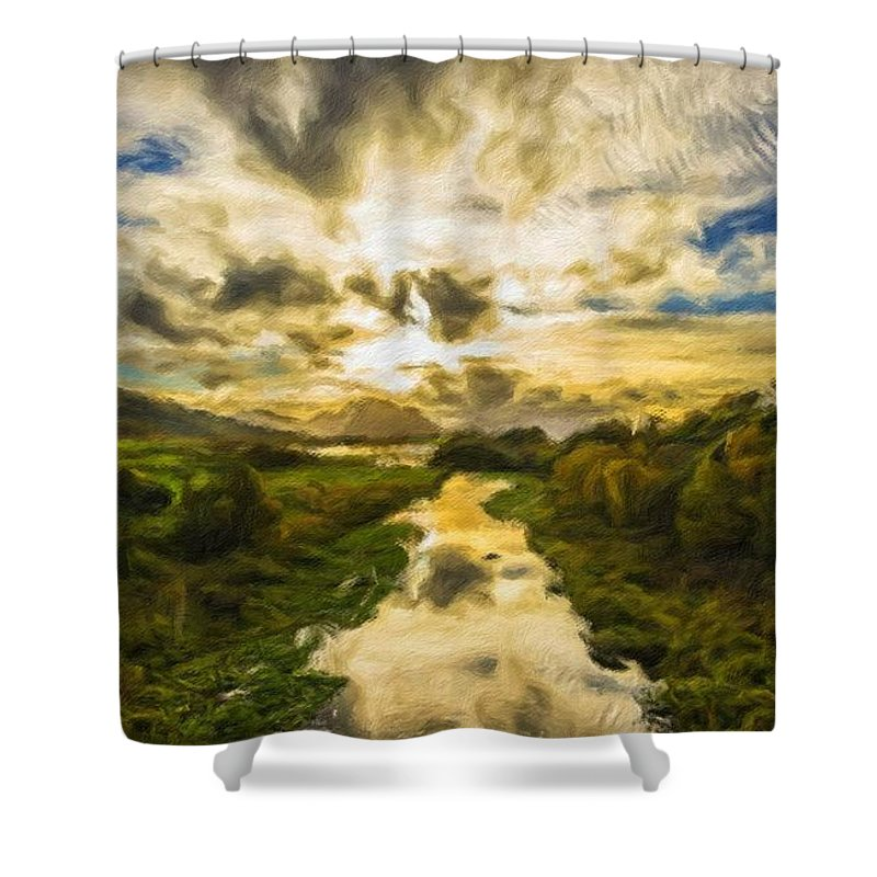 New Shower Curtain featuring the digital art Landscape Color by Malinda Spaulding