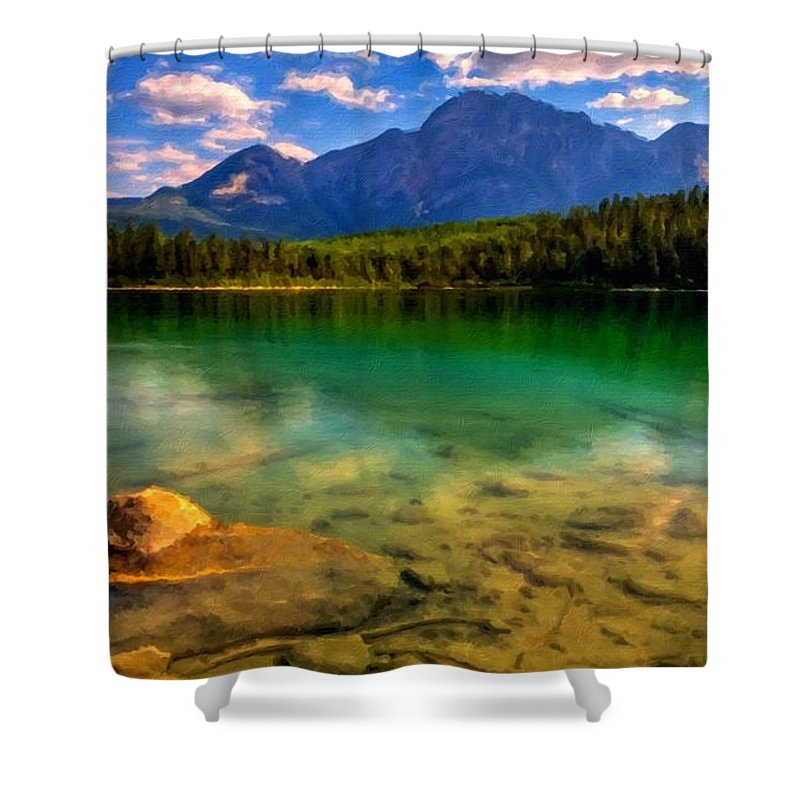 Path Shower Curtain featuring the digital art Painted Landscape by Usa Map