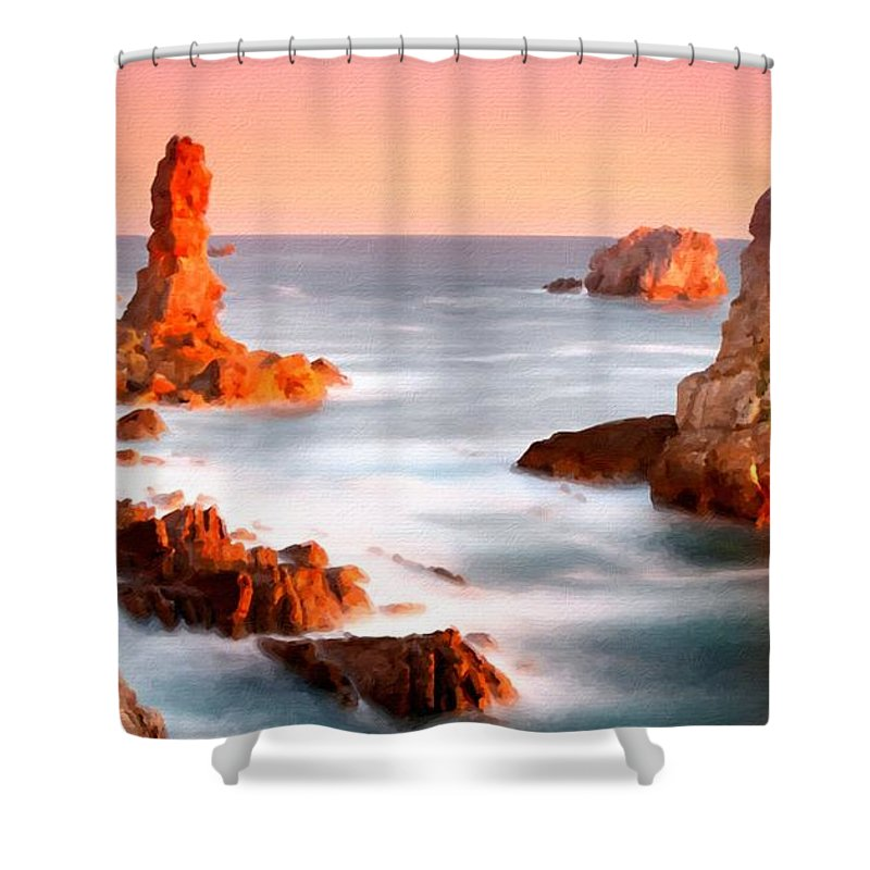 Landscape Shower Curtain featuring the digital art Pictures Of Landscape by Usa Map