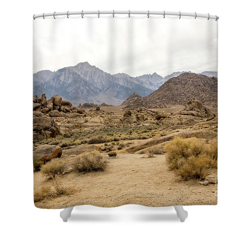395 Shower Curtain featuring the photograph Rocks, Mountains And Sky At Alabama Hills, The Mobius Arch Loop by Eiko Tsuchiya