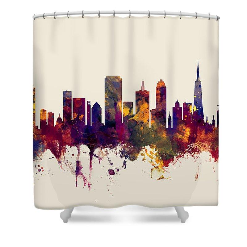 San Francisco City Skyline Shower Curtain for Sale by Michael Tompsett