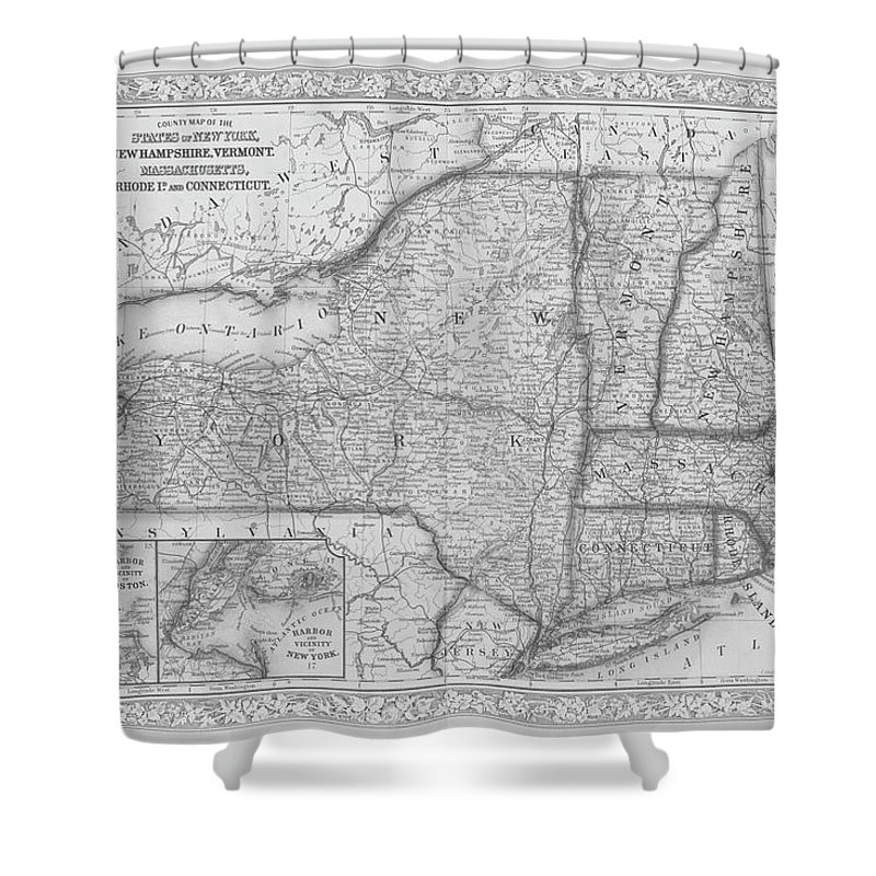 New York Map Black And White.1863 New England And New York Map Black And White Shower Curtain For