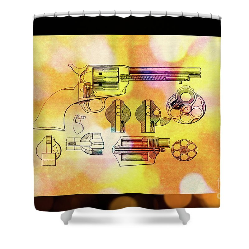 1875 Shower Curtain featuring the digital art 1875 Revolver by Steven Parker