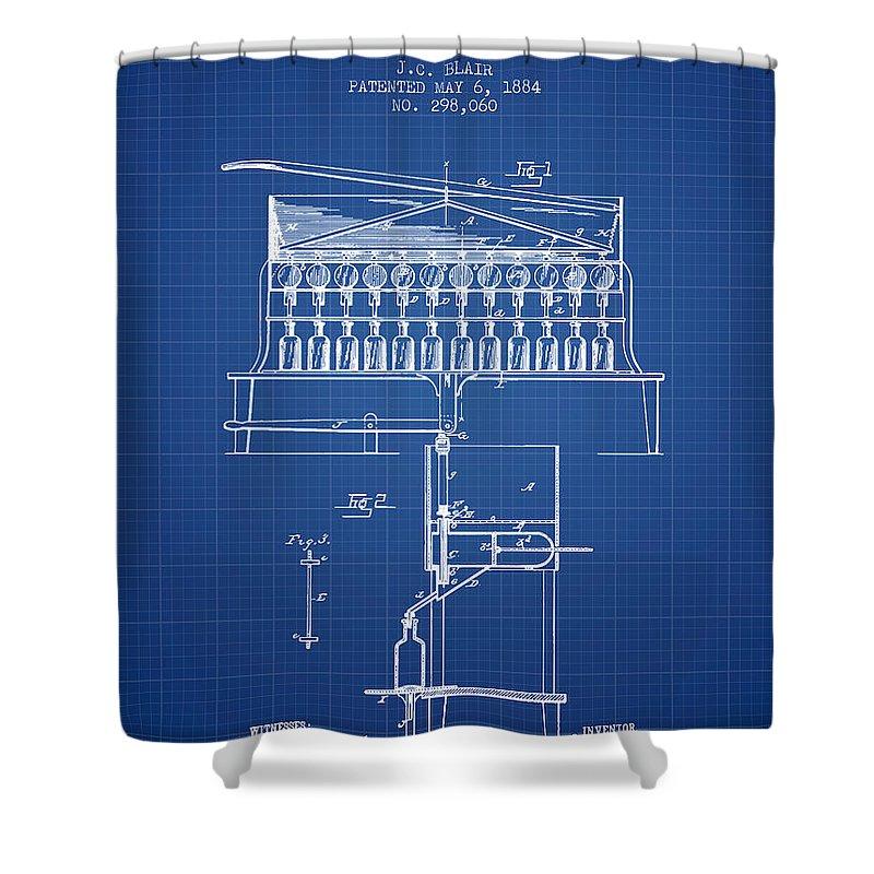 Bottle Machine Shower Curtain featuring the digital art 1884 Bottling Machine Patent - Blueprint by Aged Pixel