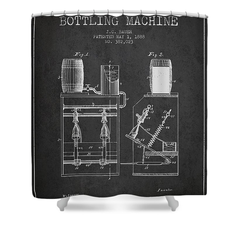 Beer Shower Curtain featuring the digital art 1888 Beer Bottling Machine Patent - Charcoal by Aged Pixel